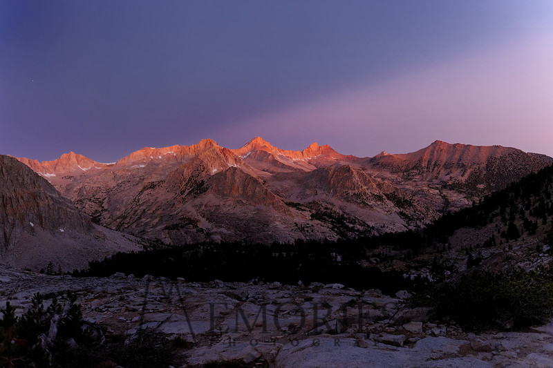 Alpine Start<br /> <br /> (pre-dawn light on South Guard, Mt. Brewer and North Guard, on the cross-country route over Harrison Pass, Kings Canyon National Park)