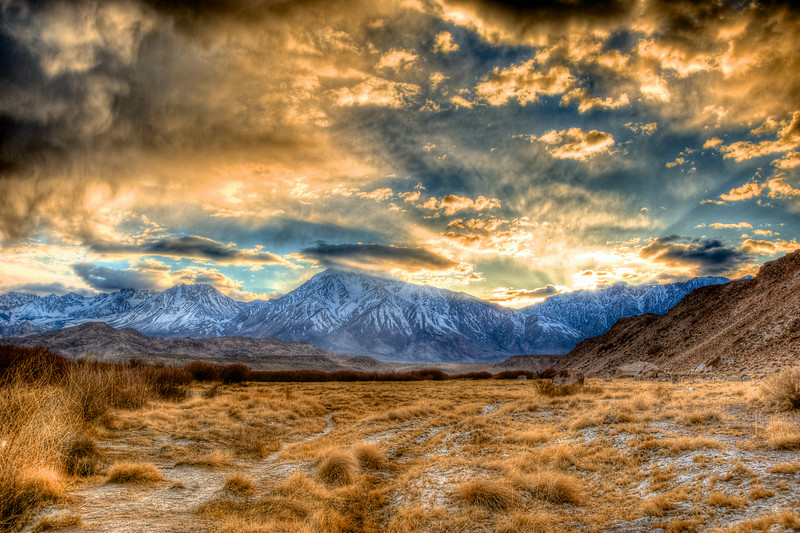 Eastern Sierra mountains at sunset.
