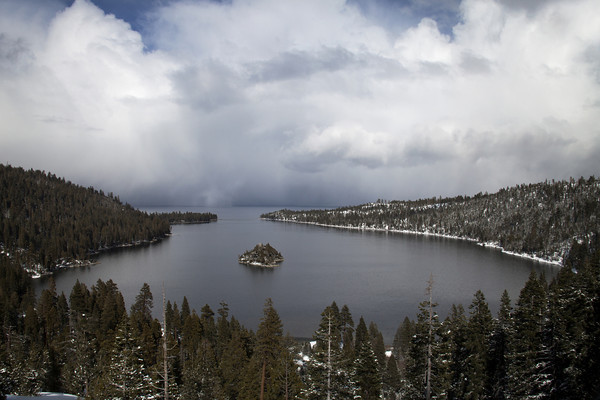 Emerald Bay approaching Snow Flurry<br /> <br /> It was calm when I arrived at one of the pull-outs above Emerald Bay... the cold wind picked and it started to snow signaling this approaching cloud mass.  I eventually had to get back into the car as it grew closer. This was a snow flurry passing through Emerald Bay,  The clouds here are full of energy, texture and life. I hoped to captured the essence of the moment in Emerald Bay. The snow storm lasted about 20 minutes, it was awesome...