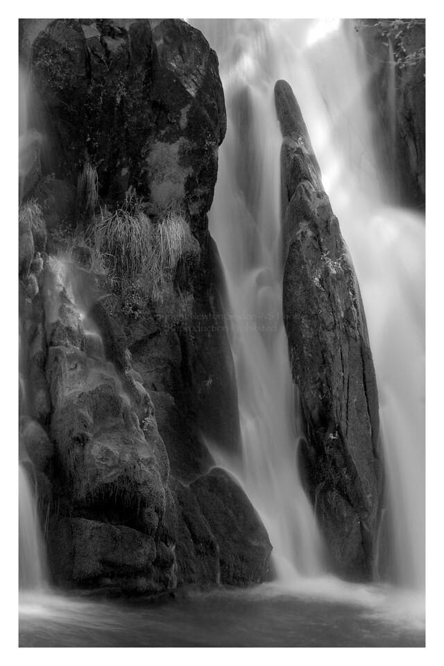 Lewis Creek Falls #3 Black & White<br /> Yosemite, California