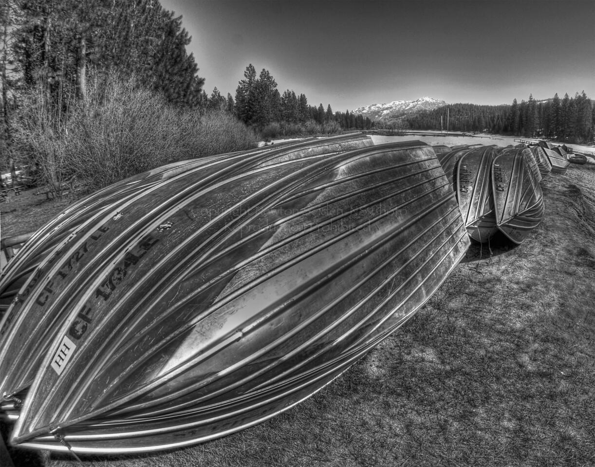 Canoes<br /> HDR Grunge, Black & White<br /> Hume Lake, California