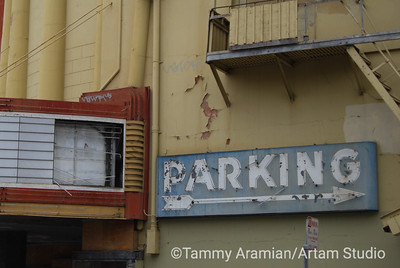 marquis and parking sign on 18th Ave side of Alexandria Theater, San Francisco