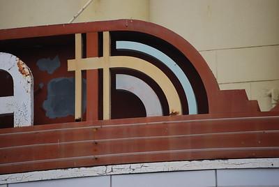 streamline art deco detail on marquis, Alexandria Theater, San Francisco