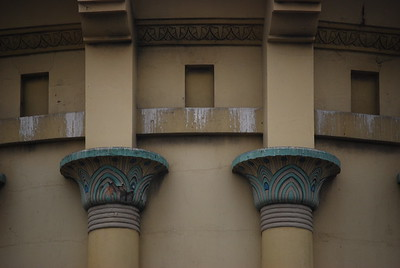 guano and column detail of corner facade, Alexandria Theater, San Francisco
