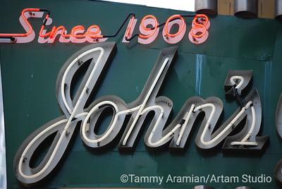 Ellis Street signage detail for John's Grill, Sam Spade's favorite hangout