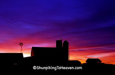 Amish Farm Silhouette at Sunrise, Monroe County, Wisconsin