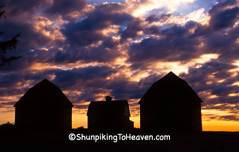 Twin Round Barns at Sunrise, Lake County, Indiana