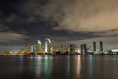 San Diego city skyline from the ferry pier on Coronado.  The Christmas tree of lights was just soo bright compared with everything else.