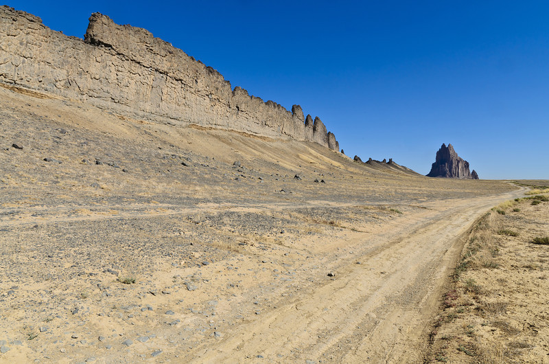 The road leading in to the Shiprock. Almost looks like a man-made wall protecting it.