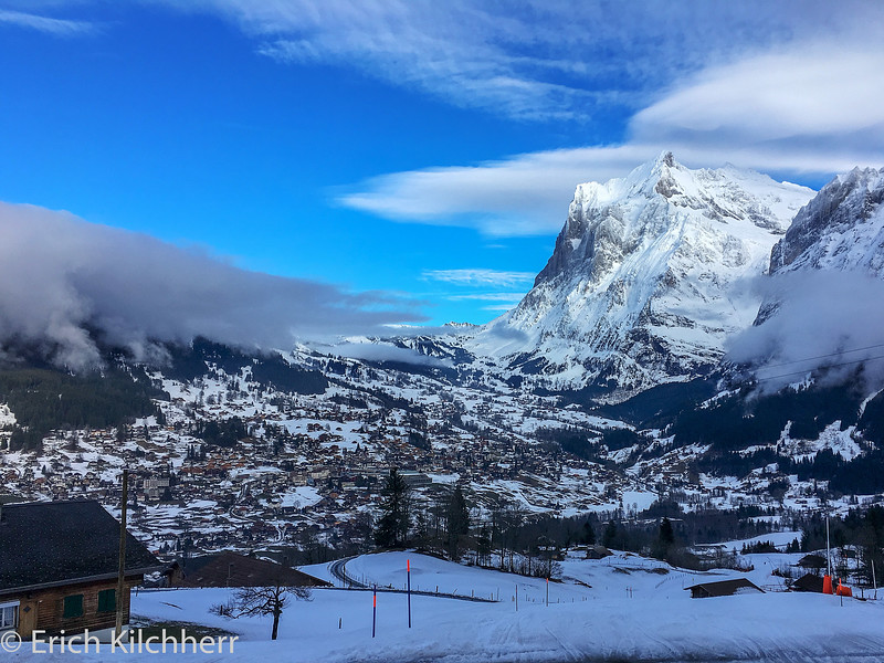 Grindelwald with Wetterhorn at dusk