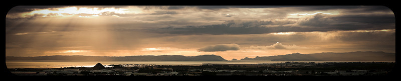 View towards Auckland International Airport, Mangere, and the Manukau Harbour from Manurewa