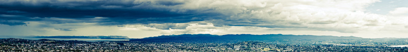 View from Mt Eden across the Manukau Harbour and Waitakere Ranges.