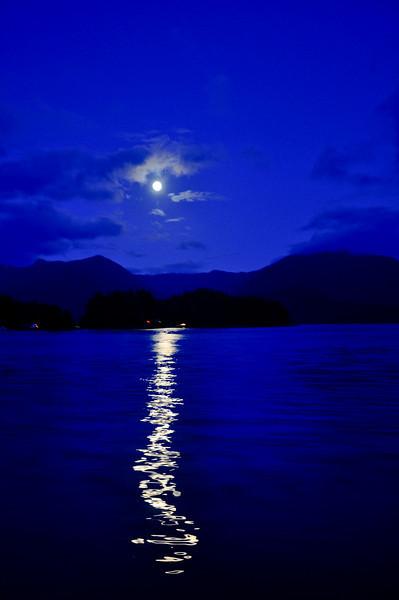 After an evening trip the moon shone across Jamestown bay.