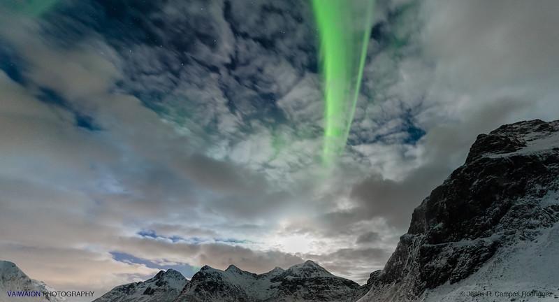The Moon and a Green Ray. Aurora Borealis (3)
