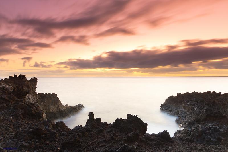 Volcanic Coast and Otherworldly Sky.<br /> Los Cancajos, La Palma island, Canary Islands. Spain.