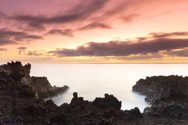 Volcanic Coast and Otherworldly Sky. Los Cancajos, La Palma island, Canary Islands. Spain.