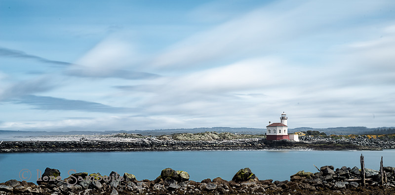 5-7-13 A long exposure (206 sec) taken at the Coquille Lighthouse.