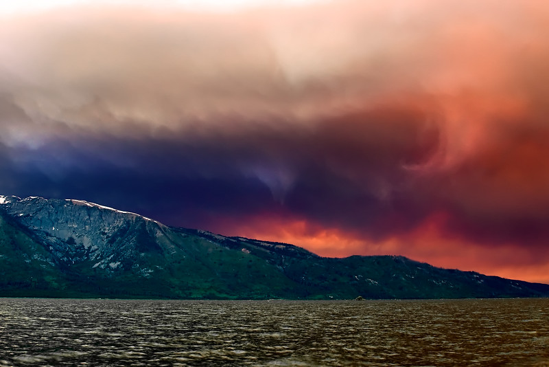 Forest Fire Over Grand Teton