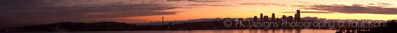 Seattle at Sunrise: 24 pictures stitched together for a loooooong pano.