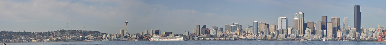 This is my first attempt at a skyline shot of Seattle from a bunch of stitched together pictures. Huzzah!