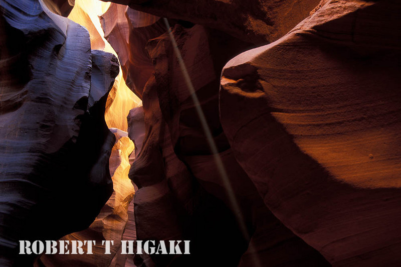 slot canyon- sometimes you get a beam of sunlight shooting through. If there is enough dust in the air, you can see(photograph) it.