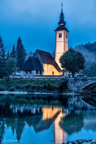 Church of St John the Baptist at Blue Hour