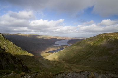 Haweswater Reservoir from Little Harter Fell in the Cumbrian Lake District. England
