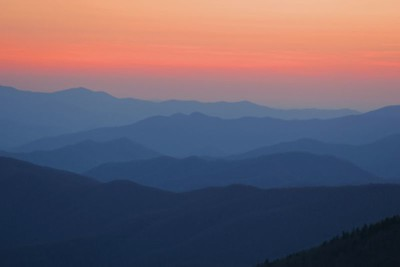 Folded blue mountains at sunset, Clingman's Dome overlook.  It was very cold at sunset in mid-April.  Dress warmly!!