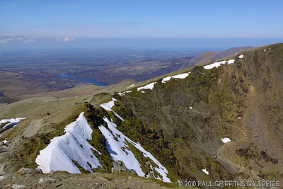 View looking back from the peak - Llanberis in the distance on the left of the lake