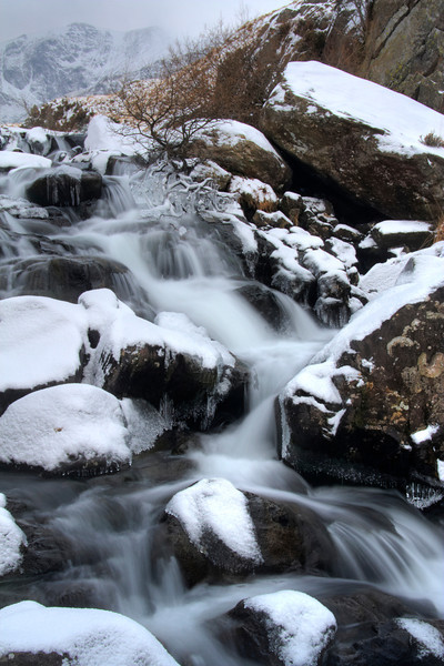 IDWAL WATERFALL IN SNOW HDR  #2