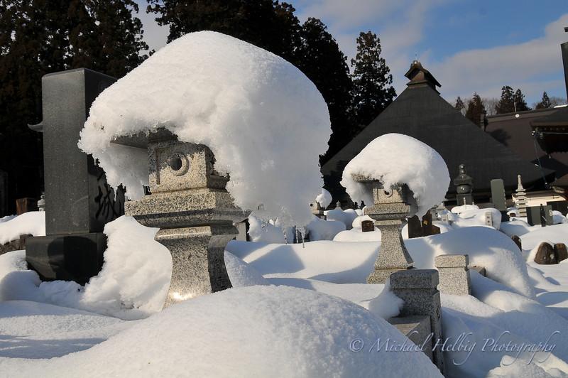 Gravestone snowfall