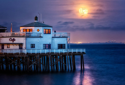 """Supermoon over Malibu"" Malibu, CA  19"" x 13"" archival print  $700 framed - 24"" x 18"" frame with white mat  $500 unframed print with white mat  Signed & Numbered Limited Edition of 5 of this size"