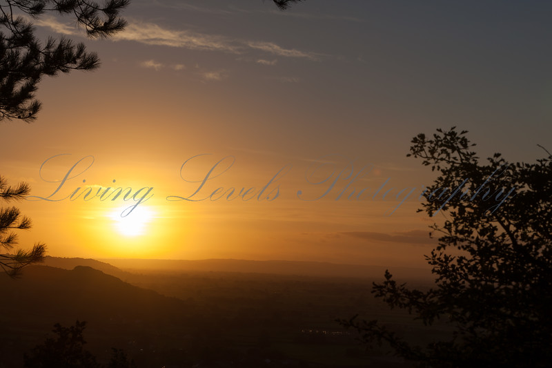 Sunset taken from Kings Wood on the Polden Hills looking over the Somerset Levels