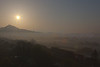 Sunrise over Glastonbury Torr and the misty Somerset levels taken from Wearyall Hill