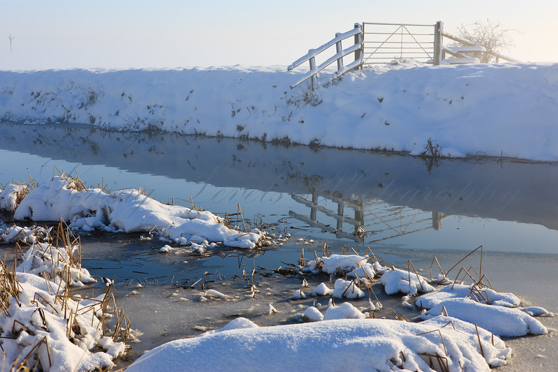 Heavy snow on the River Brue
