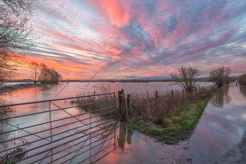 Sunrise over the flooded Somerset Levels just outside Glastonbury.  The still water reflects the colours in the sky.