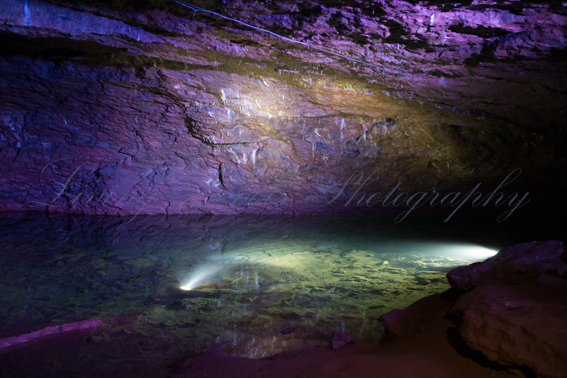 Cave formations in the Carboniferous limestone of the Mendip Hills are illuminated for display at Wookey Hole Caves