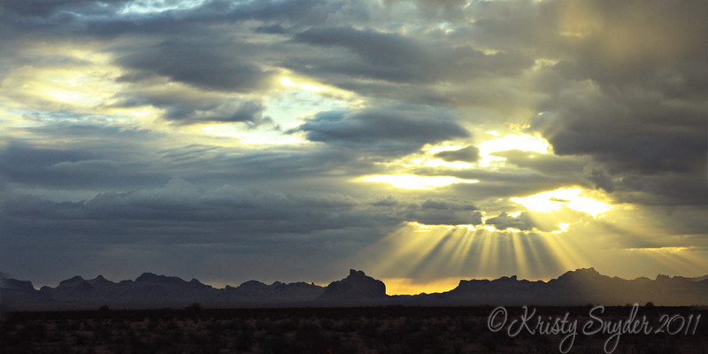 Desert Sunset on the way home from California...   We got lucky to see this beautiful moment.   Just a quick snapshot from inside the car as we speed along the freeway...   (had to get home in time for the Steeler game, so no chance of pulling off for a second... lol...  football wife)