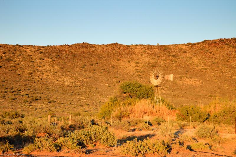 Sunrise on Karoo Windmill, Kambro farm