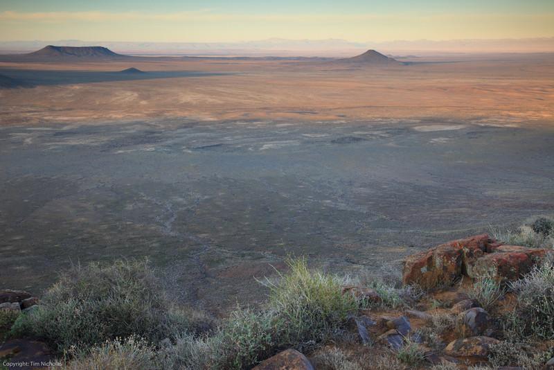 Sunrise, looking out from Elandsberg lookout towards Volmoersfontein. Tankwa Karoo National Park