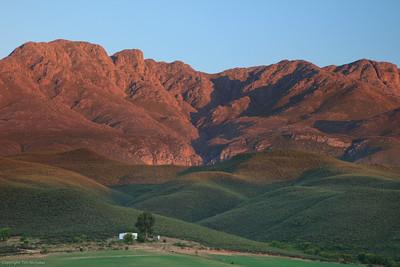 Little Karoo: Sunrise on the Swartberg Mountains (Kruisrivier Guest Farm)