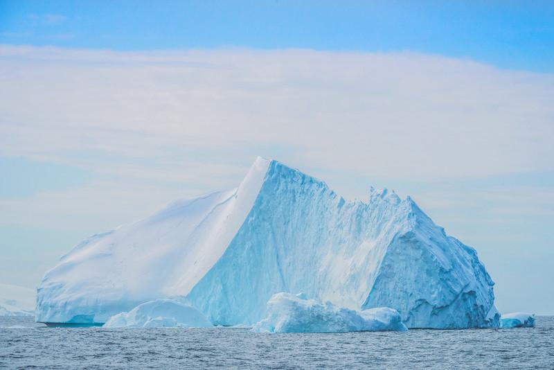 Frozen Giant Icebergs At Sea