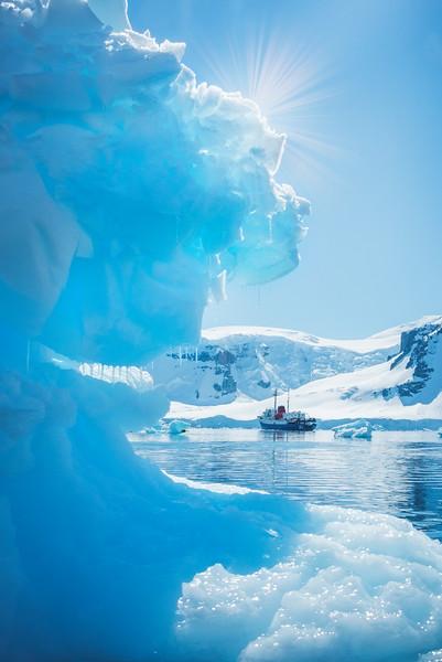 Sunburst Through The Blue Ice