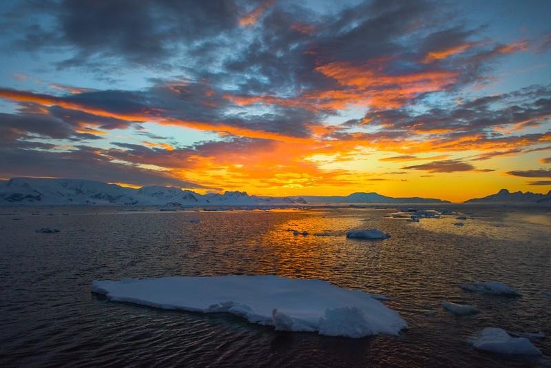 Antarctica Sunset From Afar