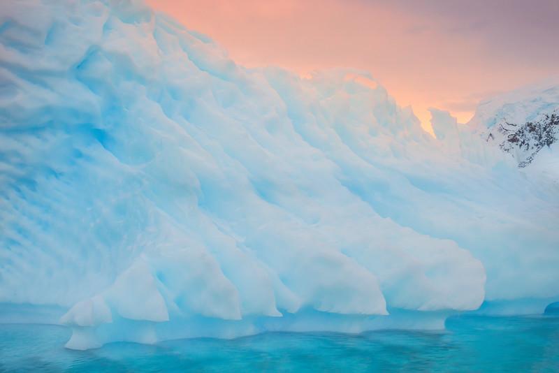 Ice Patterns And White Peak Backdrop