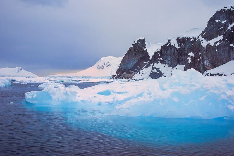 Big Blocks Of Frozen Ice In Harbor