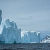 Converging Lines Of Icebergs And Peak