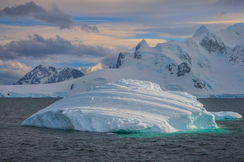Icebergs Swimming Along At Sea