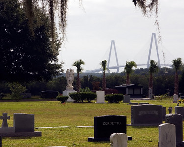 Magnolia Cemetary Under the Careful Watch of the Arthur Ravenel Jr. Bridge