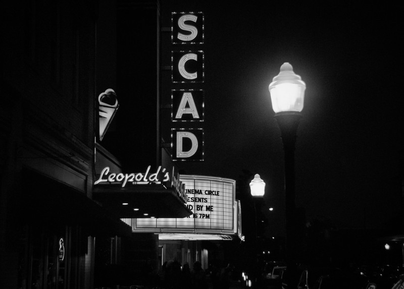 The SCAD theatre next door to Leopolds ice cream in downtown Savannah, Georgia.